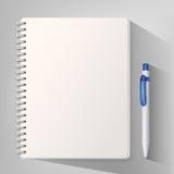 Caderno com a pena de esferográfica branca ilustração do vetor