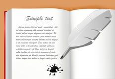 Caderno com pena e borrão Imagens de Stock