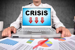 Caderno com símbolo da crise Imagem de Stock