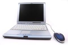 Caderno com um rato azul Fotografia de Stock