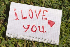 Caderno com um registro eu te amo Fotografia de Stock