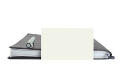 Caderno de couro com cartão imagem de stock royalty free
