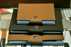 Caderno de couro elegante imagens de stock