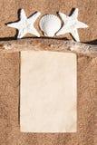 Caderno de papel, ramo seco e conchas do mar na areia Imagem de Stock Royalty Free