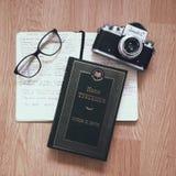 Caderno do livro dos vidros Imagem de Stock Royalty Free