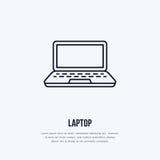 Caderno do portátil com linha lisa ícone da tela vazia do estilo Tecnologia sem fios, sinal do laptop Ilustração do vetor ilustração stock