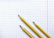 Caderno do ` s do estudante em uma gaiola Na folha são três lápis foto de stock