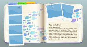 Caderno do vetor com água e os peixes Fotos de Stock