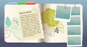 Caderno do vetor com teste padrão de flor no azul Fotografia de Stock Royalty Free