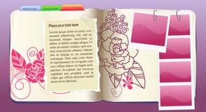 Caderno do vetor com teste padrão de flor no roxo Fotografia de Stock Royalty Free