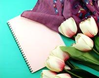 Caderno e das sapatas vida lisa ainda com fundo da cópia do espaço Imagem de Stock Royalty Free
