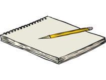 Caderno e lápis Imagens de Stock