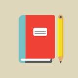 Caderno e lápis coloridos ilustração stock