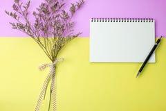 Caderno e lápis vazios no fundo cor-de-rosa e amarelo Fotos de Stock Royalty Free