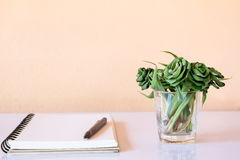 Caderno e pena a trabalhar e relaxar Imagem de Stock Royalty Free