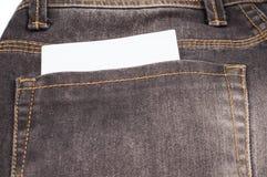 Caderno em branco pequeno no bolso das calças de brim Fotos de Stock Royalty Free