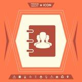 Caderno, endereço, ícone da lista telefônica com símbolo de povos do grupo ilustração royalty free