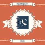 Caderno, endereço, ícone da lista telefônica com símbolo do monofone ilustração royalty free