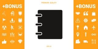 Caderno, endereço, ícone da lista telefônica com tampa vazia ilustração stock