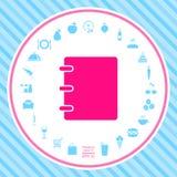 Caderno, endereço, ícone da lista telefônica com tampa vazia ilustração royalty free