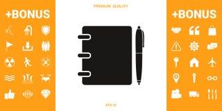 Caderno, endereço, lista telefônica com ícone do símbolo da pena ilustração stock
