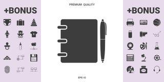 Caderno, endereço, lista telefônica com ícone do símbolo da pena ilustração royalty free