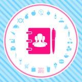 Caderno, endereço, lista telefônica com símbolo de povos do grupo e ícone da pena ilustração royalty free