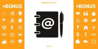 Caderno, endereço, lista telefônica com símbolo do email e ícone da pena ilustração do vetor