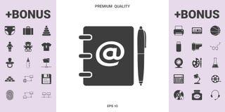Caderno, endereço, lista telefônica com símbolo do email e ícone da pena ilustração royalty free