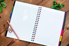 Caderno espiral aberto com lápis e apontador Imagem de Stock