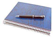 Caderno espiral azul com pena Foto de Stock