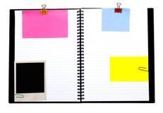 Caderno espiral e notas foto de stock