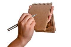 Caderno espiral e uma pena Foto de Stock