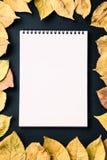 caderno espiral no fundo preto com folhas de outono, o espiral Foto de Stock Royalty Free