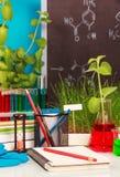 Caderno, garrafas, tubos de ensaio com líquidos coloridos no laboratório do fundo Imagens de Stock Royalty Free