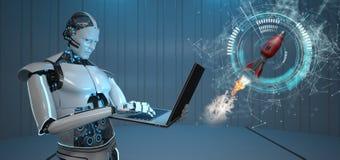 Caderno Humanoid Rocket do robô ilustração royalty free