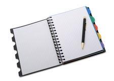 Caderno - organizador com a pena à moda Fotos de Stock
