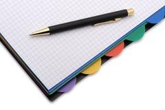 Caderno - organizador com a pena à moda Foto de Stock Royalty Free
