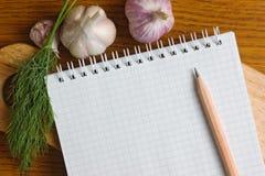 Caderno para cozinhar receitas Fotografia de Stock
