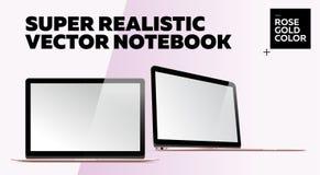 Caderno realístico super do vetor com tela vazia Imagem de Stock Royalty Free