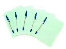 Cadernos com ballpoints Fotografia de Stock