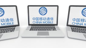 Cadernos com logotipo de China Mobile na tela Rendição conceptual do editorial 3D da informática  Imagem de Stock