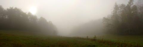 cades小海湾有雾的全景 库存照片