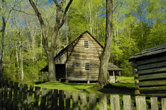 Cades Cove in Early Spring. Tipton Cabin in Cades Cove at Great Smoky Mountains National Park Stock Photo
