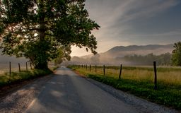 Cades Cove mountain valley sunrise royalty free stock photos