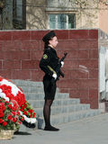 Cadet with a gun on watch at the eternal flame Stock Photo