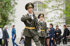 Cadet young guard catches in a guard of honor Royalty Free Stock Images