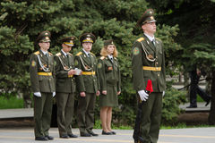 Cadet young guard in guard of honor, against four cadets Royalty Free Stock Photos