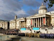 Cadetes del mar en Trafalgar Square Imágenes de archivo libres de regalías