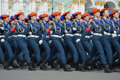 Cadets of Academy of the Ministry of emergency situations in rehearsal of parade Royalty Free Stock Photo